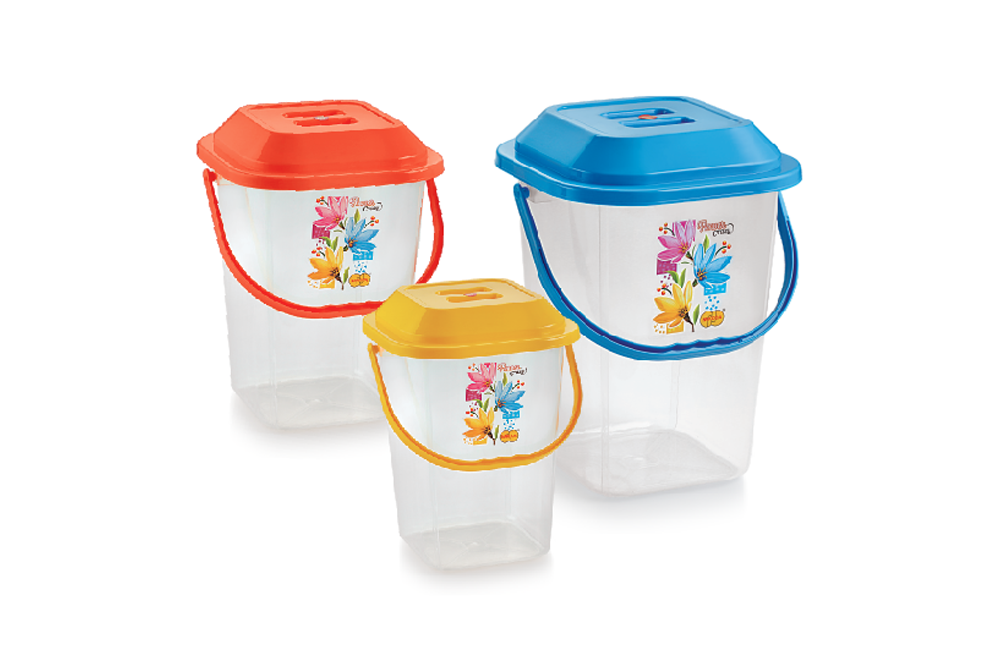 MODERN SQUARE BUCKET WITH LID (TRANSPARENT)